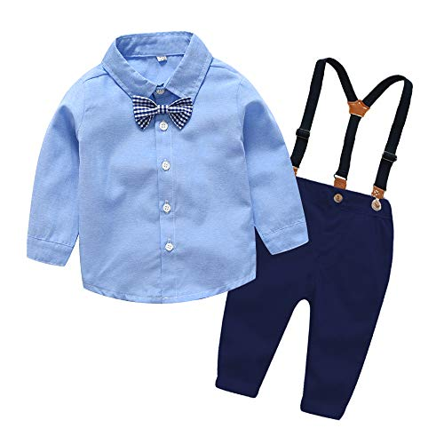 xirubaby Toddler Boys 2 Pieces Gentleman Blue Shirt+Suspenders Pants Clothing Set Outfit(70/6-12 Months,Blue) -