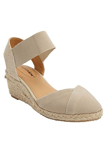 Comfortview Women's Wide Abra Espadrille Sandal New Khaki,9 1/2 W (Shoes Wide Wedge)