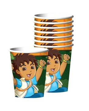 Amscan Festive Diego's Biggest Rescue Birthday Party Paper Cups (8 Piece), 9 oz, (Go Diego Go Birthday Party)