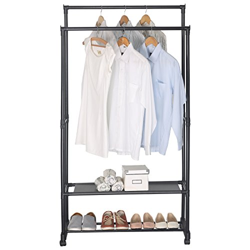 UPC 191099003345, WOLTU Double-rail Garment Rack 2 Tiers Clothes Storage Shelves on Wheels