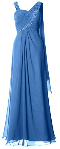 MACloth Women Straps Sweetheart Long Prom Dress Chiffon Formal Evening Gown Azul
