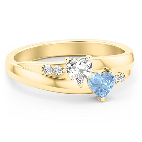 TSD 10K Yellow Gold Double Heart Birthstone Ring with Accents by JEWLR 10k Double Heart Ring