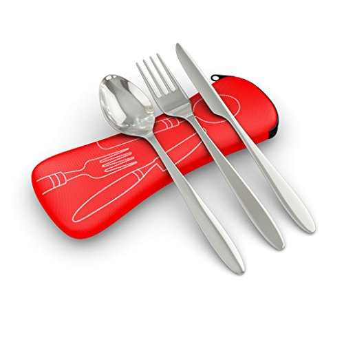 3 Piece Stainless Steel (Knife, Fork, Spoon) Lightweight, Travel / Camping Cutlery Set with Neoprene Case (Red), Reusable Lunch Box Utensils, Portable Travel Silverware Set