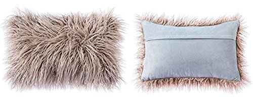 OJIA Deluxe Home Decorative Super Soft Plush Mongolian Faux Fur Throw Pillow Cover Cushion Case (12 x 20 Inch, Light Coffee) (Pillow 12x12 Throw Covers)