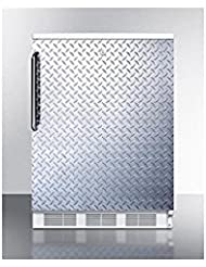 Summit FF6LBIDPL Refrigerator, Silver With Diamond Plate