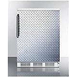 Summit FF6LBIDPL Refrigerator, Silver With Diamond Plate