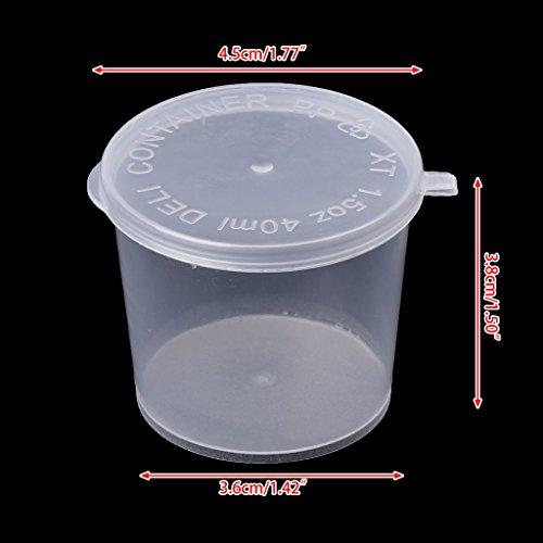 Tebatu Plastic Disposable Sauce Cup Clear Salad Dressing Food Storage Containers + Lids by Tebatu (Image #1)