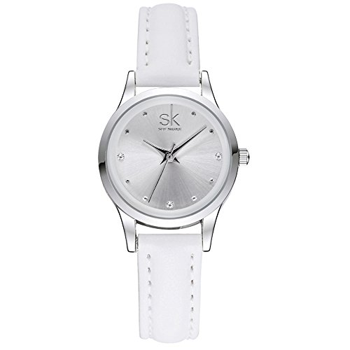 SK White Watches for Women Round Case with Leather Watch Band Quartz Waterproof Crystal Diamond Fashion Casual (White)