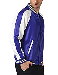 JOGAL Mens Zip Up Stain Contrast Colors Varsity Baseball Bomber Jacket Large Blue