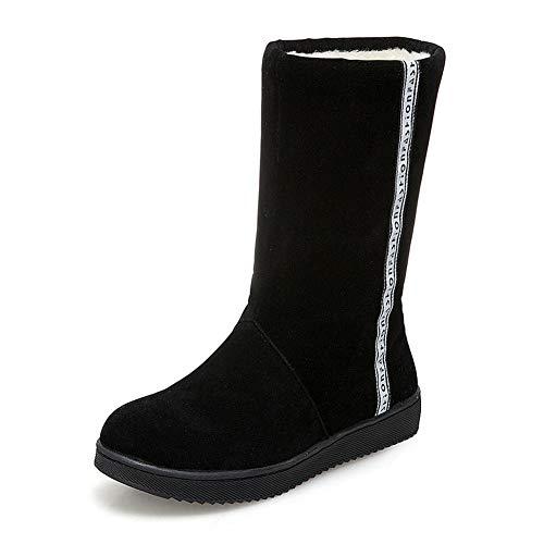 Felpa 41 Size Calf De Dropship Shoes Winter Black Warm 31 Woman Snow Plus Caliente On Hoesczs Mid Boots Women Slip OT5wtw