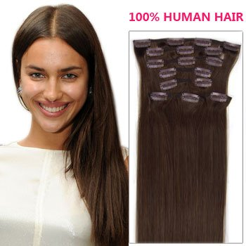 18 inch dark brown col 2 full head clip in human hair full head clip in human hair extensions pmusecretfo Choice Image