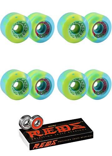 Speedlab Wheels 60mm Strangehouse Blue/Yellow Skateboard Wheels - 95a with Bones Bearings - 8mm Bones Reds Precision Skate Rated Skateboard Bearings (8) Pack - Bundle of 2 Items ()