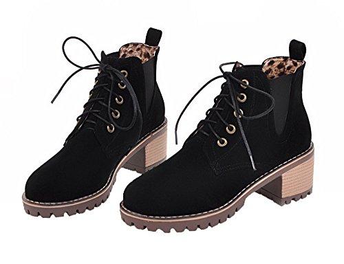 Mini Shoes Mujeres Redonda Tacón Grueso AgeeMi Negro Cordones Botas Cerrada Puntera Y77wF