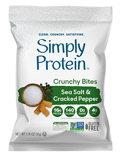 SimplyProtein Crunchy Chips (Sea Salt & Cracked Pepper). Crunchy Vegan Chips made with Plant-Based Pea Protein (Two 6 Packs).