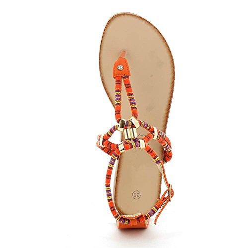 Go Moda - Sandalias planas à cuerda colorido - Mujer Naranja - naranja