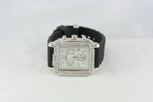 Black Mop Dial Chronograph - Geneva black silicon strap Chronograph-style Rectangular Mop dial ladies watch