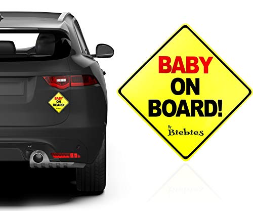 Biebies Baby On Board Large Window Safety Car Sign for boy/Girl Keep Child Safe ()