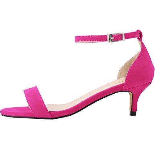 Bout Femme bride à de talon WanYang Rose Ouvert Mi Cheville Sandales Pumps Sandales Stiletto Heel 8STTWUnA