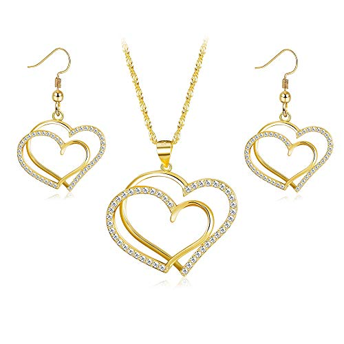 Sllaiss Heart Shaped Necklace Set 925 Sterling Silver Love Necklace Earrings Inlaid Cubic Zirconia Wedding Jewelry Sets for Women Girls ()