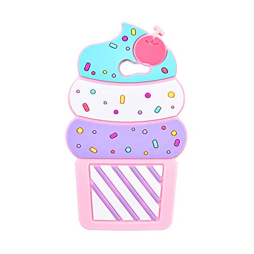 TopSZ Pink Ice Cream Case for Samsung Galaxy J3 Emerge/J3 Prime/J3 Eclipse,3D Cartoon Silicone Kawaii Animal Cute Character Girls Kids Teens Funny Rubble Cover for J3 Luna Pro/Amp Prime 2/ J3 2017
