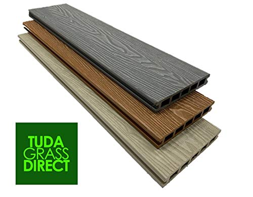 5 Sqm Tuda Grass Direct WPC Ash Composite Decking Sold Per SQM 3.6m Board Length 5 Square Metres All Fixings & Edgings Included.