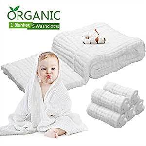 6 PCS Baby Towels Muslin Washcloths Set - 5 washcloths & 1 Large Baby Blanket Bath Towel of 6 Layers 100% Medical Grade Cotton Gauze, Natural Antibacterial,Water Absorbent,Super Soft