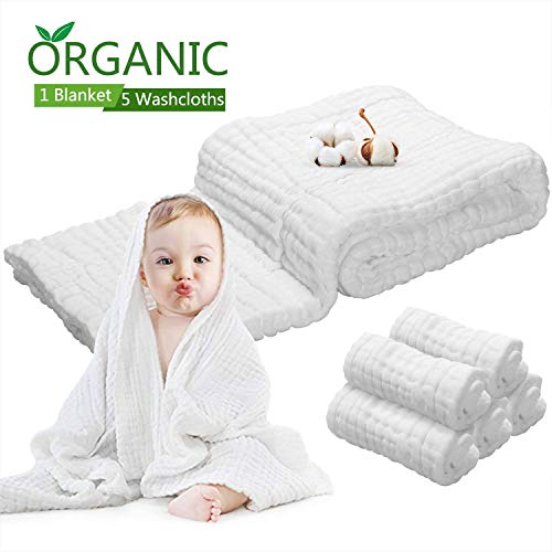 (Baby Towels Muslin Washcloths Set - 5 Washcloths & 1 Large Baby Blanket Bath Towel of 6 Layers 100% Medical Grade Cotton Gauze, Natural Antibacterial, Water Absorbent, Super Soft, 6)