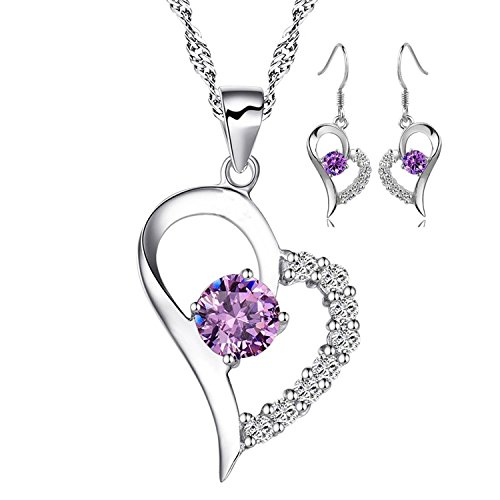 You Are The Only One In My Heart Sterling Silver Pendant Necklace With Earrings Set, Purple