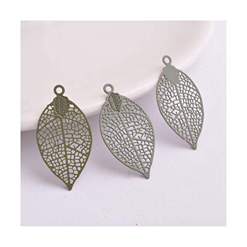 50pcs 528mm Painted Brass Leaves Charms Filigree Leaf Earrings Findings Pendants DIY Jewelry Materials Army Green