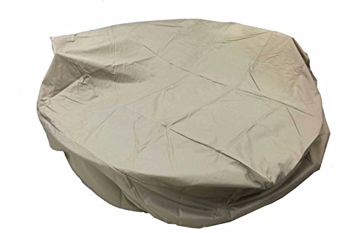 Rain Cover Patio (Dola Outdoor Round Dining Patio Furniture Cover in Beige All Weather Patio Furniture Round Cover Rain Proof 3-Layers Thick Fits Up To 90 X 31.5 inches)