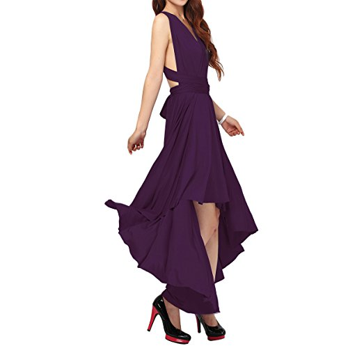 (Women's Flowy Transformer Convertible Multi Way Wrap Long Prom Maxi Dress V-Neck Hight Low Wedding Bridesmaid Evening Party Grecian Dresses Backless Halter Formal Cocktail Gown Purple Hi Low M)