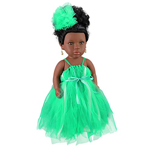 ABASSKY Black Girl Dolls African American Play Dolls Lifelike 45cm Baby Play Dolls GN