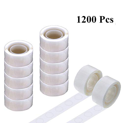 1200Pcs Balloon Glue Point Dots Tape Double Sided Adhesive Non-Liquid Craft 13mm Glue Points for Homemade Arts DIY Projects, 12 Rolls