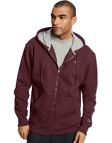 Champion Men's Powerblend Sweats Full Zip Jacket Maroon M