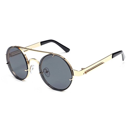 vintage conducen Gris de clásico sol los UV400 Gafas marco redondas Oro Steampunk coloridas del de vidrios del Keephen que vqF1wF