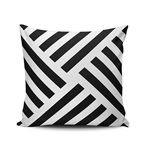 - ONGING Decorative Throw Pillow Case Geometric Pinwheel Stripe in Black White Pillowcase Cushion Cover One Side Design Printed Square Size 16x16 inch