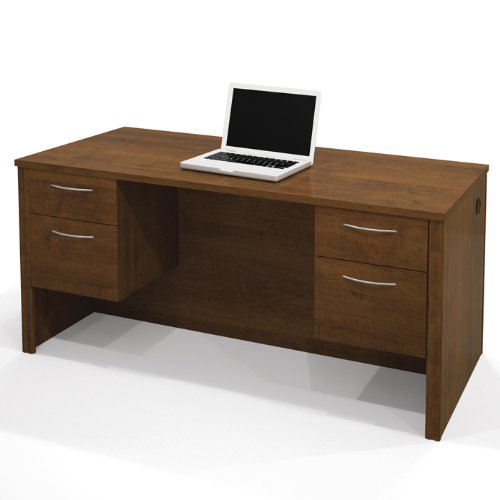 Brown Tuscany Executive Desk - Embassy Double Half Pedestal Executive Desk (Tuscany Brown)