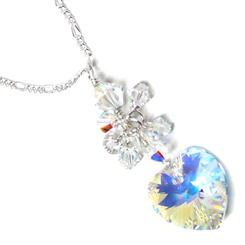 - Austrian Crystal Heart Cluster Drop Clear AB Chain Necklace Sterling Silver 18 Inches
