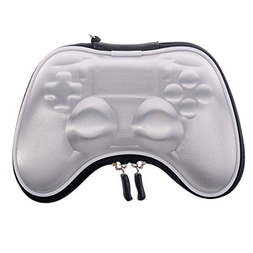eXtremeRate Silver Shockproof Controller Airform Carry Pouch Bag Protective Case for Playstation 4 PS4 Slim PS4 Pro with Strap ()