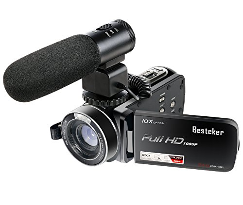 Camcorders,Besteker 1080P 30 FTPS HDMI 10X Optical Zoom and 120X Digital zoom Video Camera Camcorder with External Microphone