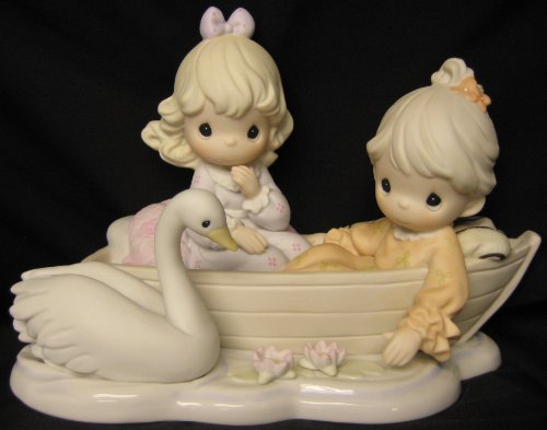 Precious Moments Sharing Our Time Is so Precious Century Circle Exclusive Limited Edition 456349 Two Girls in Rowboat with Swan