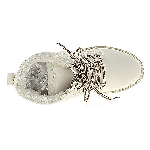 on sale Bottines femme blanches fourrées à talons de 3 cm