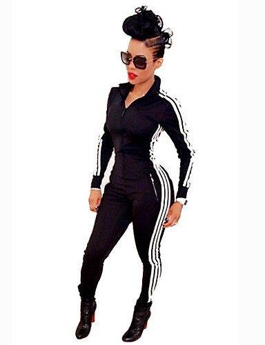 GSP-Damen Jumpsuits - Bodycon Langarm Polyester Mikro-elastisch