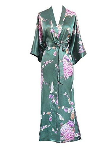 Old Shanghai Women's Kimono Long Robe - Chrysanthemum & Crane (Jade) (Long Robe)