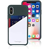 Cassenger Slim Fit Genuine Italian Leather Hard Back Case Protective Cover Snap On Case with 2 Card Holder Slots for iPhone Xs (2018 Release)-Color#02