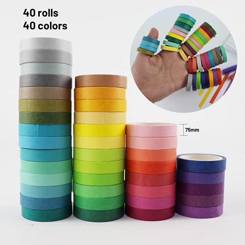 FADIKX 40 Rolls Arts & Crafts Tape,7.5mm x 13.1ft Washi Masking Tape 5 Pack Art Maker Pen Decorative Craft Tape Collection for Scrapbook DIY Crafts Gift Wrapping Planners