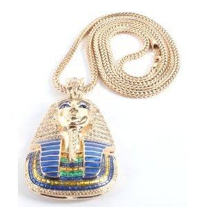 Amazon gold iced hip hop pharaoh king tut pendant franco gold iced hip hop pharaoh king tut pendant franco chain 36 aloadofball Gallery