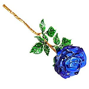 Z'Lavie Crystal Rose with Crystal Vase for Crystal Anniversary, Long Stem Roses Made from K9 Crystal, Great Gifts for Christmas Valentine's Day Birthday 2