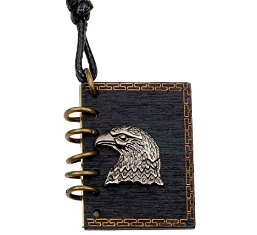 Winter's Secret Alloy Eagle Head Pattern Book Pendant Can Put Photo Necklace Lover Adjusted Leather Rope