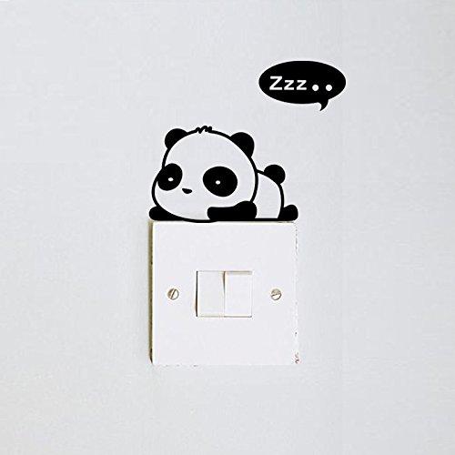 CAOLATOR-Motif Décoratif d'Autocollant De Mur De Bande Dessinée De Chat d'Amour De Panda - Couleur Noire Et Blanchedear Friends CSY